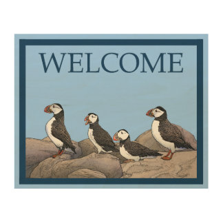 Atlantic Puffins - Welcome Wood Wall Art