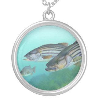 Atlantic Striped Bass Fish Morone Saxatilis Round Pendant Necklace