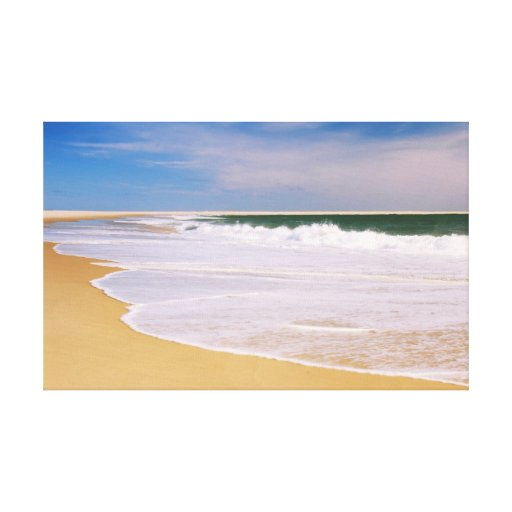 Atlantic Surf on a Deserted Island Beach Stretched Canvas Print