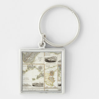 Atlantic Volcanic Activity Silver-Colored Square Key Ring