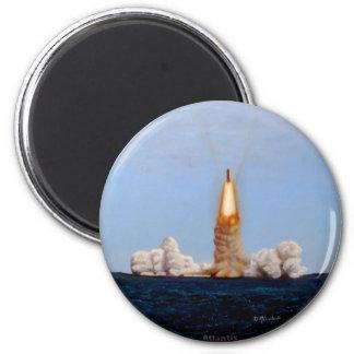 Atlantis Shuttle Launch 6 Cm Round Magnet