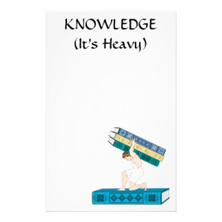 Atlas Holding Stack of Books Personalized Stationery