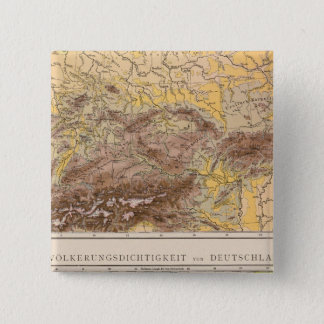 Atlas map of Central Europe 15 Cm Square Badge