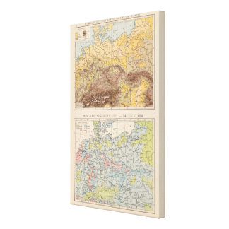 Atlas map of Central Europe Canvas Print