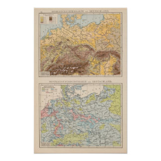 Atlas map of Central Europe Poster
