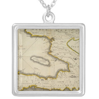 Atlas Map of Haiti Silver Plated Necklace