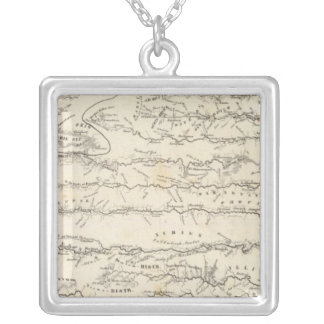 Atlas Map of Rivers Silver Plated Necklace