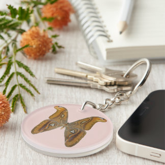 Atlas Moth Single-Sided Round Acrylic Key Ring
