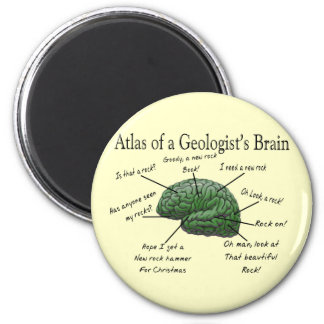 Atlas of a Geologist's Brain Funny Gifts 6 Cm Round Magnet