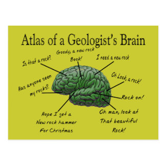 Atlas of a Geologist's Brain Funny Gifts Post Cards