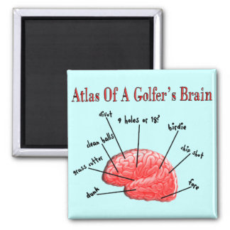 Atlas of a Golfer's Brain Square Magnet