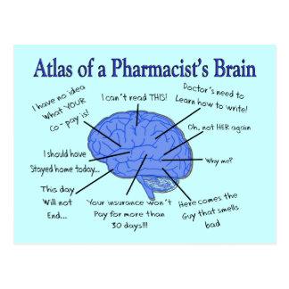 Atlas Of A Pharmacist's Brain-Hilarious Postcard
