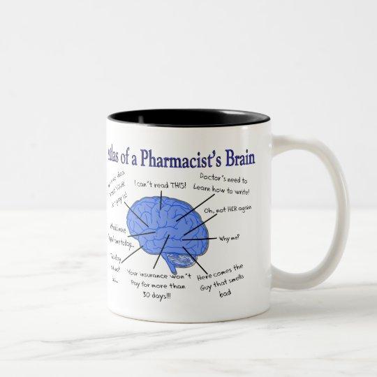 Atlas Of A Pharmacist's Brain-Hilarious Two-Tone Coffee Mug
