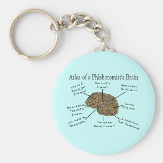 Atlas of a Phlebotomist's Brain Basic Round Button Key Ring