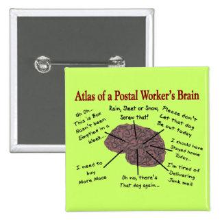 Atlas of a Postal Worker's Brain 15 Cm Square Badge
