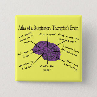 Atlas of a Respiratory Therapist's Brain 15 Cm Square Badge