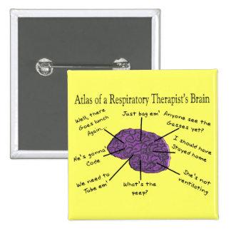 Atlas of a Respiratory Therapist's Brain 15 Cm Square Badge