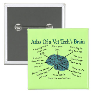 Atlas of a Vet Tech's Brain 15 Cm Square Badge