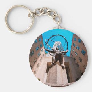Atlas Shrouded by 30 Rockefeller Plaza Basic Round Button Key Ring