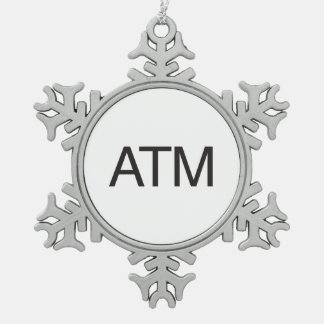 Atm Snowflake Pewter Christmas Ornament