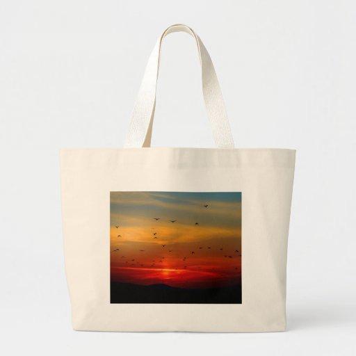 Atmospheric Sky, sunset, birds, beautiful photo Canvas Bags