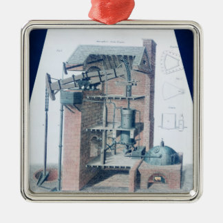 Atmospheric Steam Engine Silver-Colored Square Decoration