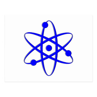 atom blue postcard