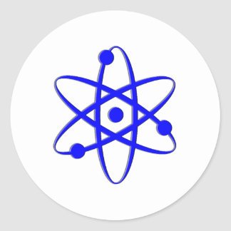 atom blue round stickers