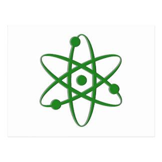 atom dark green postcard
