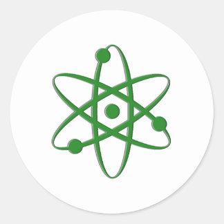 atom dark green classic round sticker