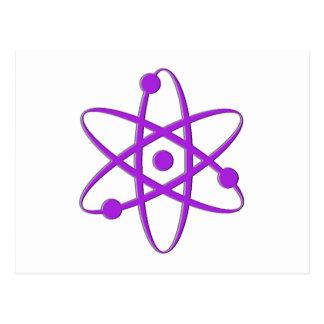 atom purple postcard