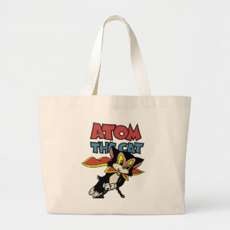 Atom the Cat funny fuzzy feline superhero Large Tote Bag