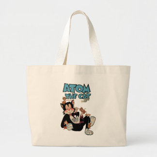 Atom the Cat funny fuzzy feline superhero Large Tote Bag