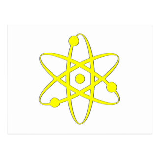 atom yellow postcard