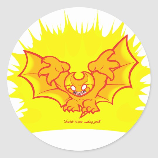 atombat atomised red outline Sticker