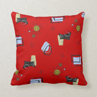 ATOMIC 1950'S RETRO VINTAGE DESIGN PILLOW RED