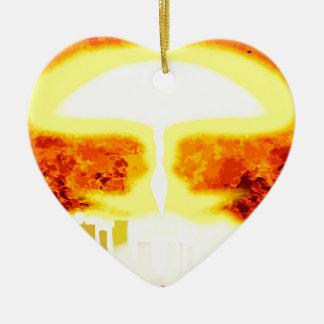 Atomic Bomb Heat Background Ceramic Heart Decoration