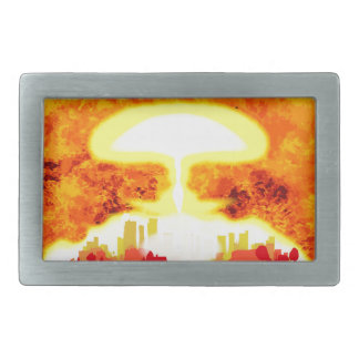 Atomic Bomb Heat Background Rectangular Belt Buckle