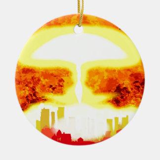 Atomic Bomb Heat Background Round Ceramic Decoration