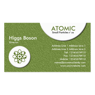 Atomic Circles - Green Embossed Texture Business Card Template