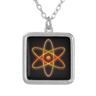 Atomic concept. silver plated necklace