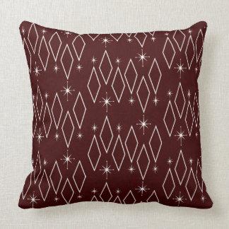 Atomic Era White Diamonds Starburst Maroon Texture Cushion