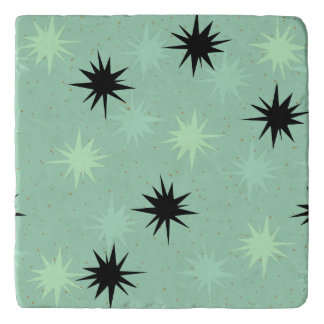 Atomic Jade & Mint Starbursts Marble Stone Trivet