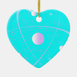 Atomic Mass Structure Background Ceramic Heart Decoration