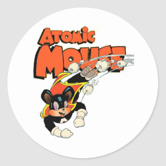 Atomic Mouse cute cartoon art superhero Round Sticker