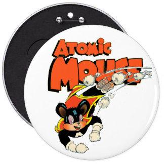 Atomic Mouse flying comic art superhero 6 Cm Round Badge