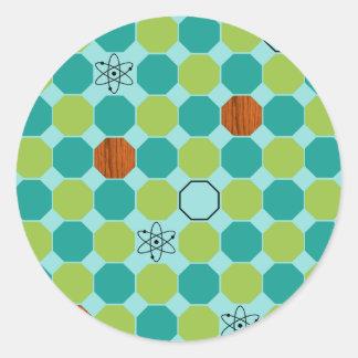 Atomic Octagons Round Stickers