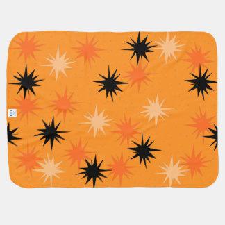 Atomic Orange Starbursts Baby Blanket