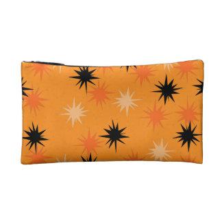 Atomic Orange Starbursts Cosmetic Bag
