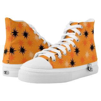 Atomic Orange Starbursts High Top Shoes